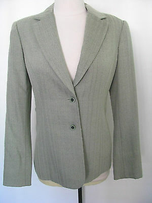 CARLISLE Light Green/ Herringbone Design Wool Blend Jacket With Attached Belt 0 ()