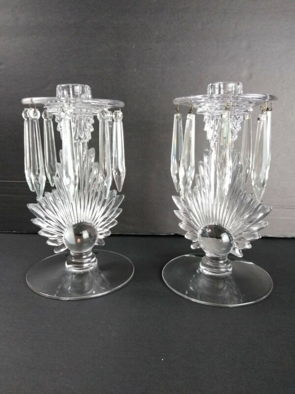 Fostoria Etched Mayflower Pair of Vintage Candlestick Holders Flame with Prisms