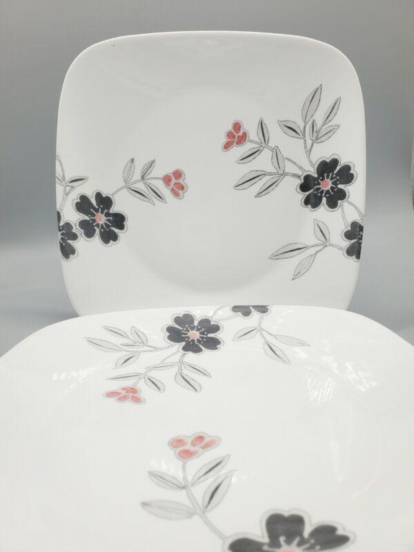 """SET OF 8: Mandarin Flower Corelle Square 10.5"""" DINNER PLATES Gray Red Black"""