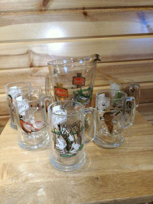 Vintage Schmidt Collectors Series Beer Pitcher And 5 Mugs