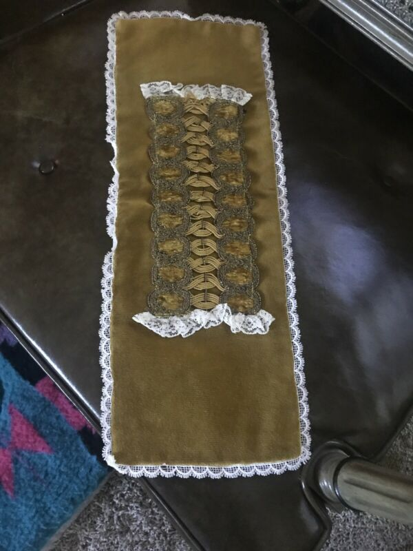 Vintage Gold Velvet Table Runner Dresser Scarf Tied Fringed victorian