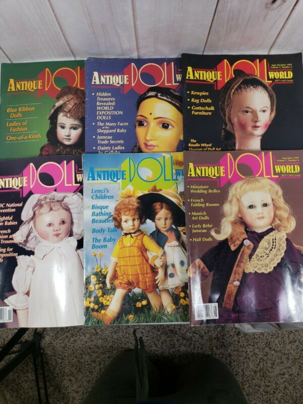 Vintage Doll Magazines  ANTIQUE DOLL WORLD 1994 - 1995 Lot 6 Issues Decoupage