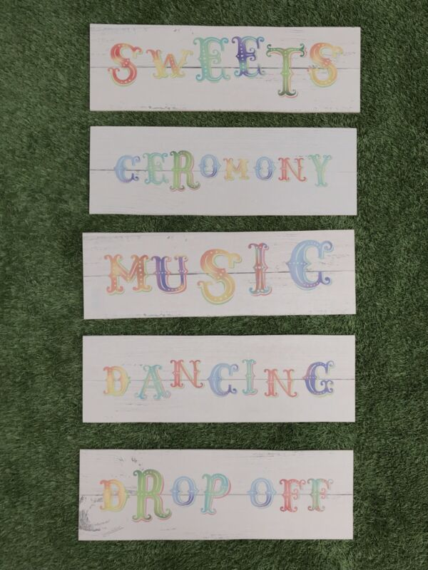 Job Lot Of 5x Circus Style Wedding Party Festival Event Signs REJECT SET 1
