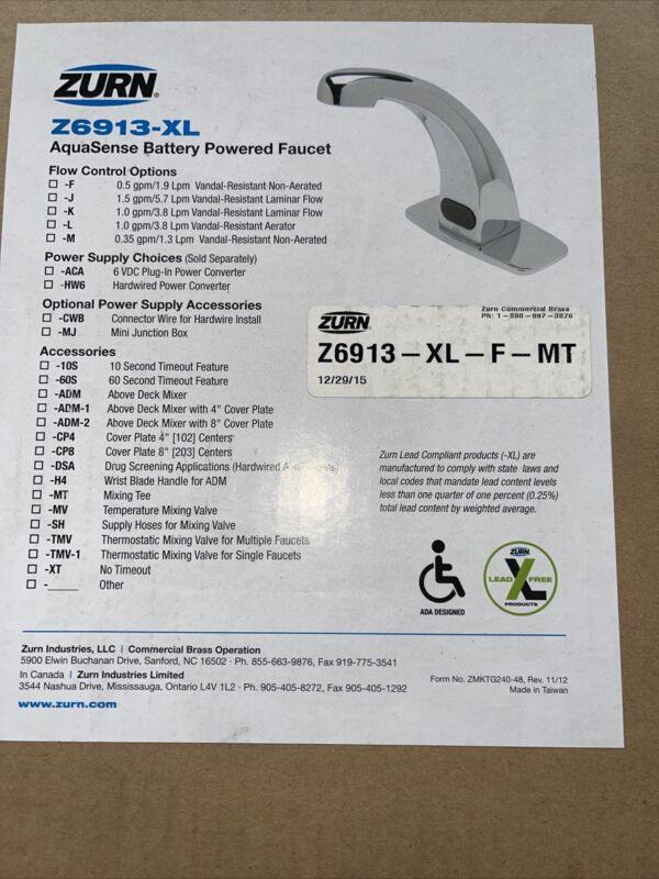 Zurn Z6913-XL-F 0.5 gpm Batter Powered Single Hole XL Faucet