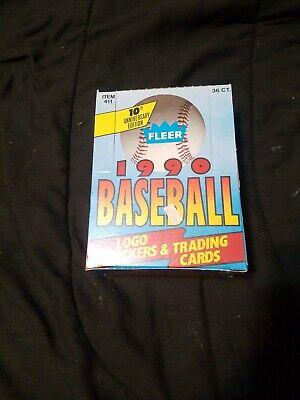 1990 Fleer Baseball Cards Box- 36 Factory Sealed Unopened Wax Packs Rookies etc  Fleer Factory Sealed Baseball