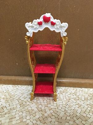 Barbie Doll Red Gold Shelves Unit Apple White Princess Castle Bedroom Furniture