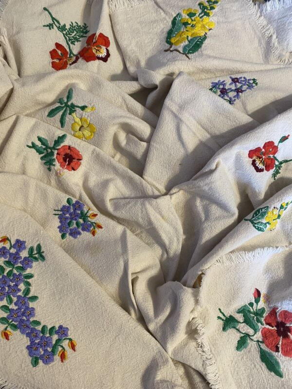 Vintage Feed Cloth Embroidered Flowers Spring Summer Table Cloth