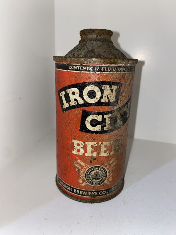 Antique Iron City Cone Top Beer Can