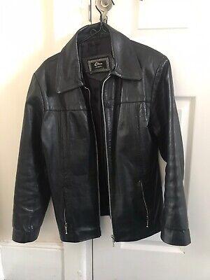 Vintage 90s Black Etam Y2k Leather Jacket Size 12 M