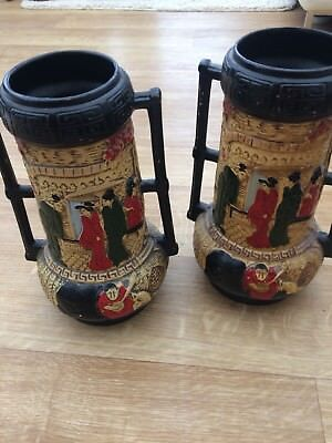 LARGE PAIR OF VINTAGE CYPLES OLD POTTERY JAPANESE STYLE VASES EMBOSA WARE