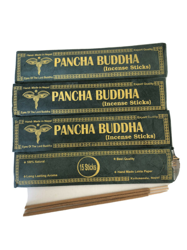 4 Tibetan Hand Rolled PANCHA BUDDHA INCENSE STICK Natural Yoga NEPAL 15P Pack