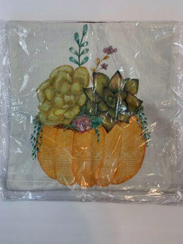 Autumn Pumpkin Floral Decorative Pillow Cover 16x16