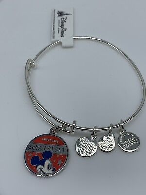 Mickey-mouse-banner (Disney Parks Mickey Mouse Banner Bangle by Alex and Ani Silver Finish New Tags)