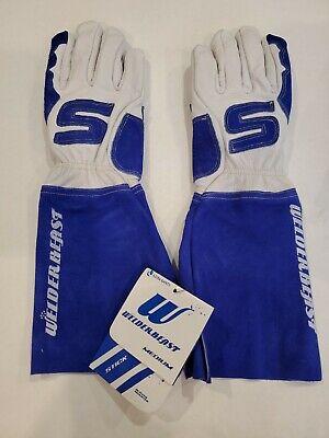 Welder Beast Medium Leather Welding Gloves Azusa Safety Blue