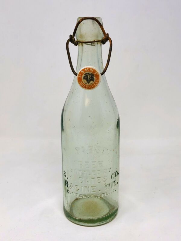 RARE Antique Vintage Pabst Beer Racine Wisconsin Blobtop Blob Glass Bottle Stop