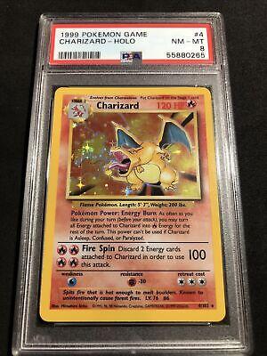 PSA 8 1999 Pokemon Charizard #4 Holo Base Set NM-MT! Newly Graded! NO RESERVE