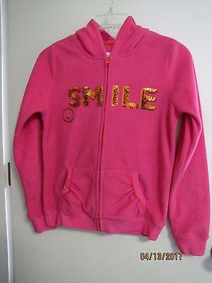 EUC The Childrens Place Girls Pink Fleece Full Zip Hoodie Jacket Sequins XL 14
