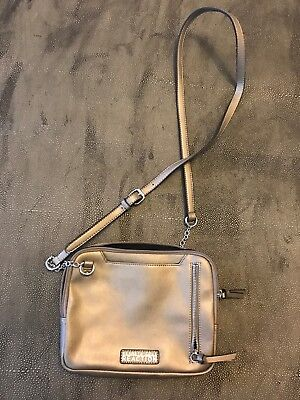 Kenneth Cole Reaction Silver Gray Small Crossbody Bag Chain Detail