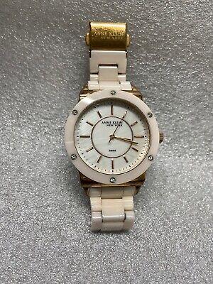 Anne Klein 12/2270RGLP Women's Swarovski Crystal Pink Ceramic Bracelet Watch NWD