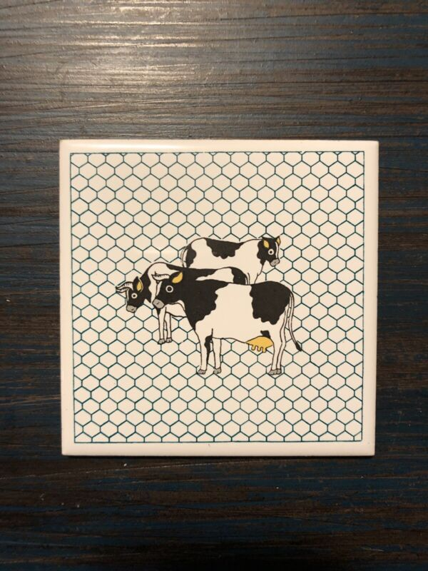 Vintage Ceramic Tile Cow Coaster