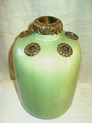 Oriental Green Glaze Bottle Vase with Ormolu Mounted Apertures 27.5 cm height