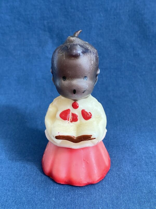 """Vintage 3"""" Gurley Black Americana Christmas Choir Boy Candle with Label"""