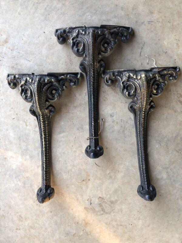 """Antique Vintage (3)Art Deco Industrial Cast Iron Table Legs 13.5"""""""