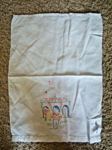 Vintage Embroidered Linen Tea Towel Musical Theme Cello Violin Free Shipping