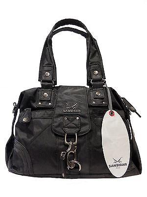Designer Handtasche Nylon (SANSIBAR Design Handtasche Schultertasche Shopper Schwarz (B-509 CA), NEU)