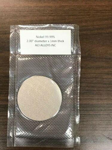 "Nickel, 99.99% pure 2.00"" diameter x 1mm thick ACI ALLOYS"