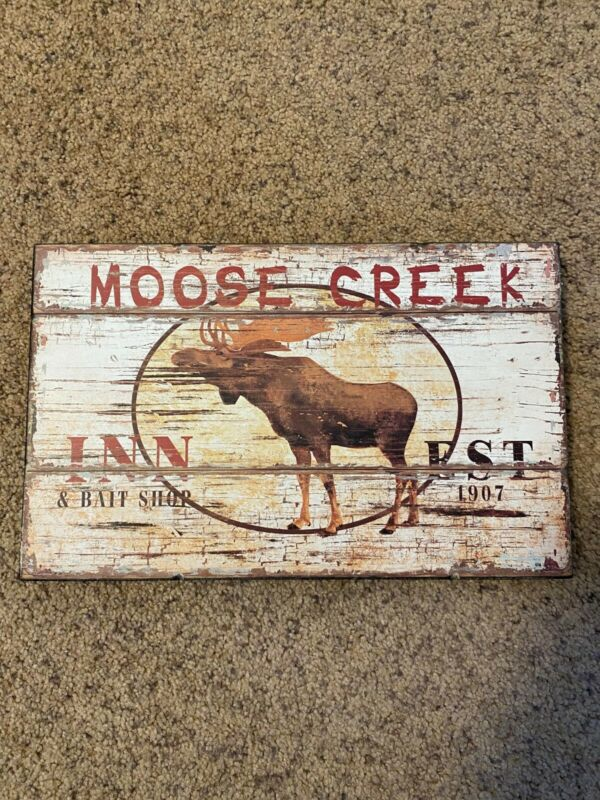 Moose Creek Lodge Inn Log Cabin Farm Cottage Rustic Metal Decor Sign
