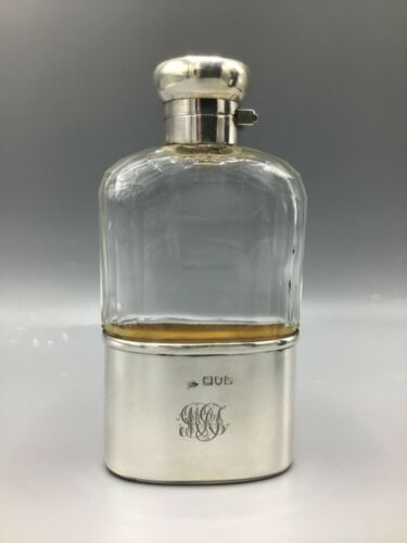 Antique English sterling silver and glass Flask by Walker and Hall, 1911