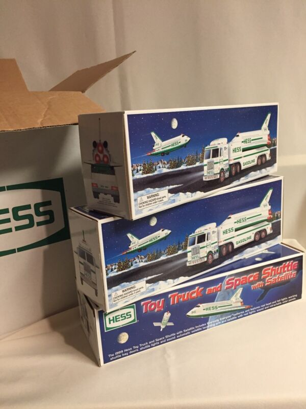 1999 Hess Toy Truck and Space Shuttle with Satellite NEW IN BOX Working Lights
