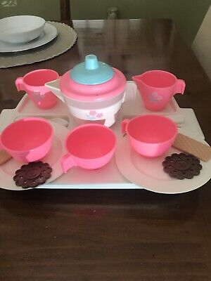 VINTAGE LITTLE TIKES TEA SET IN PINK WHITE Blue With Tray