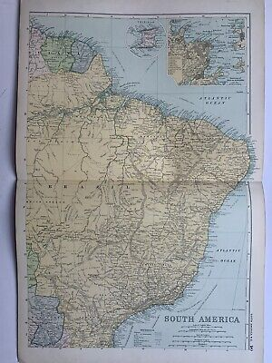 1908 Brazil Antique Map by G.W. Bacon With inset plan Of Rio De Janeiro