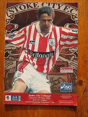 PROGRAMME STOKE CITY v WALSALL DIV2  8.5.99  MINT CONDITION  FC
