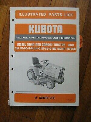 Kubota G4200h G5200h G6200h Lawn Tractor Mower Deck Parts Catalog Manual