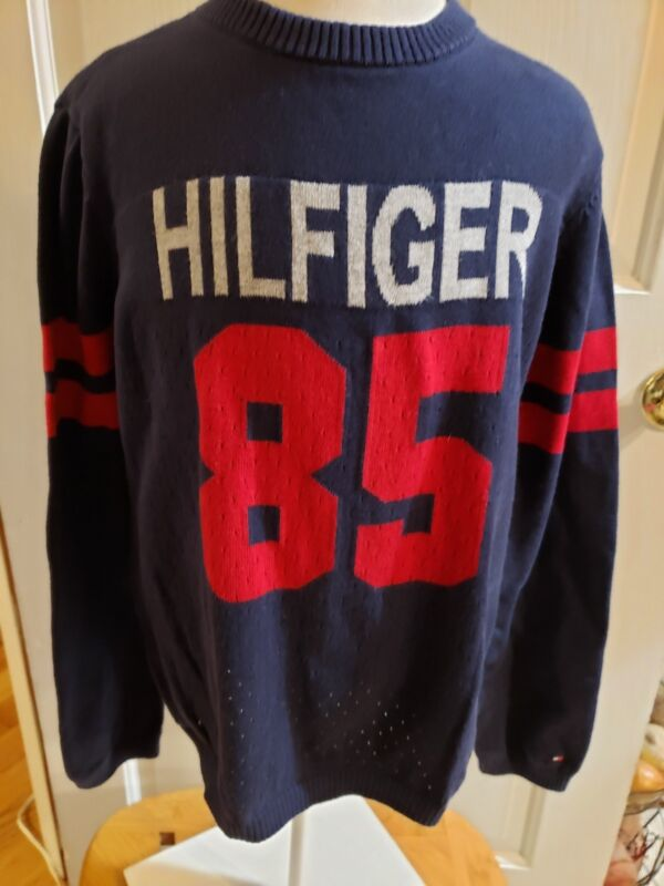 TOMMY HILFIGER SWEATER NAVY BLUE  BOYS PULLOVER COTTON SIZE 7
