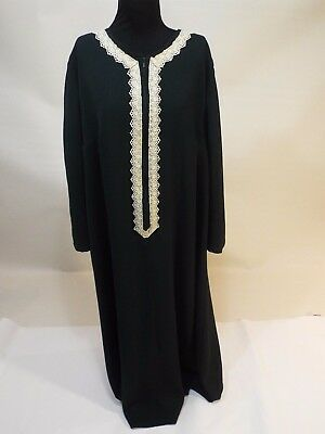 Used, Women olive green gold lace long dress kuftan caftan abaya gown size 18 liner  for sale  Fort Wayne