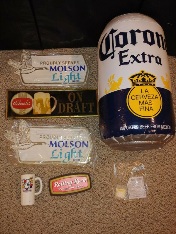 Vintage Coors Inflatable,Schaefer,Molson,Rolling Rock Flicker,Spuds Beer Signs