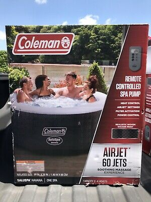 """Coleman SaluSpa 4 Person Round Portable Inflatable Outdoor Hot Tub Spa 71"""" x 26"""