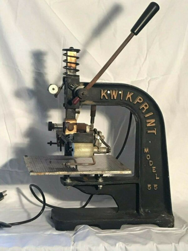Kwikprint Model 55 Hot Stamping Machine Foil Printer Used In Working Condition