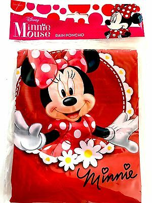 Disney Youth Red Minnie Mouse Flowers Rain Poncho Raincoat Keep Dry for sale  Orlando