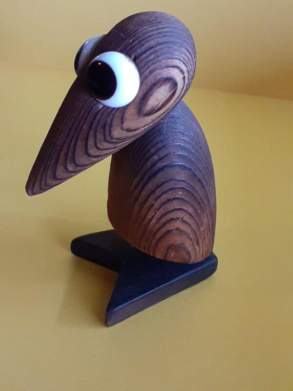 Vintage Mid Century Modern Japanese Cryptomeria Wood Carved Bird