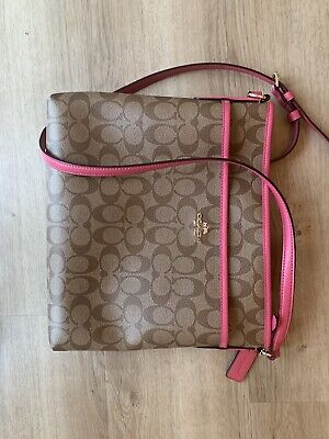 Coach Signature File Purse Crossbody Purse Bag Brown Pink