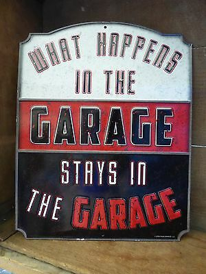 """WHAT HAPPENS IN THE Garage .. ""  Mancave Ford Chevy Bar Harley = Tin Metal SIGN"