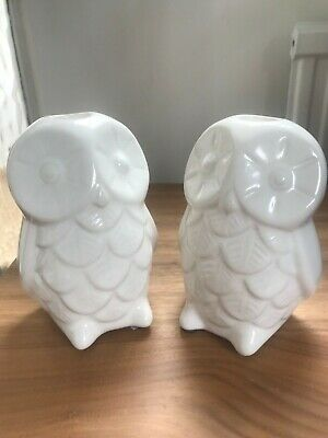 Urban Outfitters House Doctor Ceramic White Owl Candle Holders Set