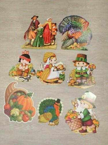 Lot of 8 Vintage Thanksgiving Die Cut Wall Decorations Beistle Pilgrim Turkey