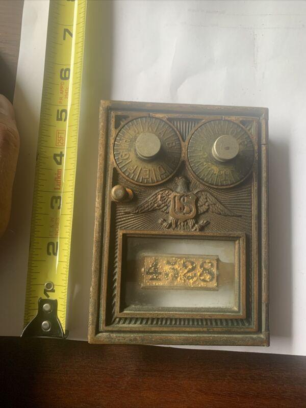 Antique Post Office Box Door Brass Vintage U.S. Eagle Dual Dial Corbin 5 X 3 5/8