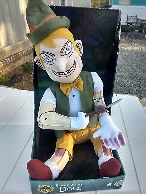 New Talking Smart Alec Creepy Animated Pinocchio Type Sawing His Arm Off Doll